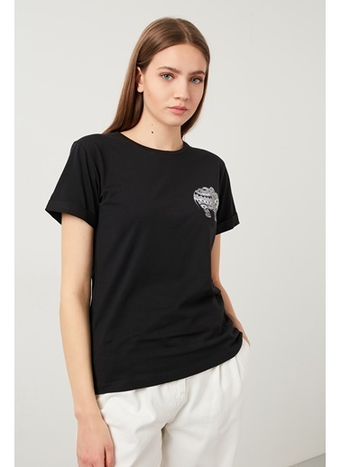 Lela Lela Bisiklet Yaka Kadın T Shirt 5411069D Siyah